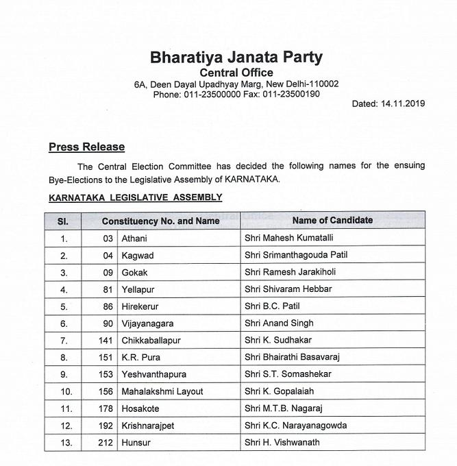 कर्नाटक उपचुनावः BJP की लिस्ट में 13 नाम,सारे कांग्रेस-JDS के बागी