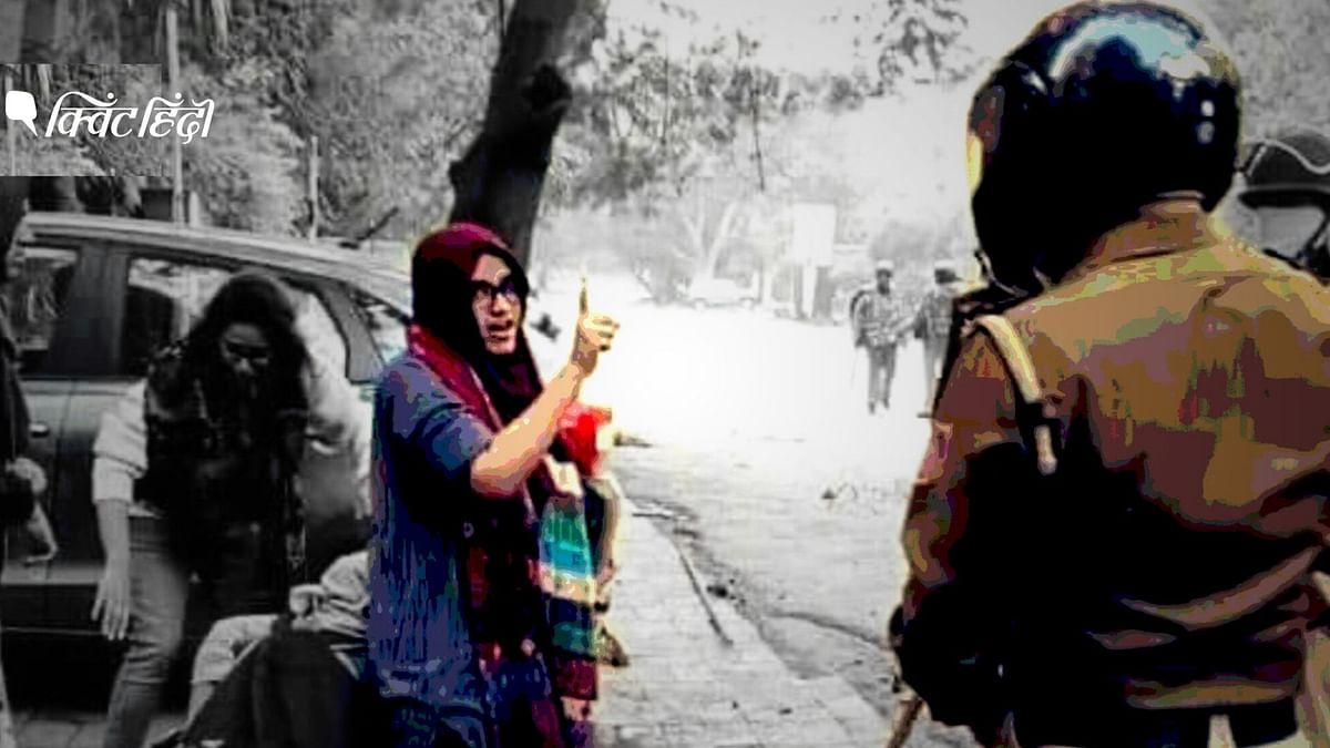 जामिया में प्रदर्शन के दौरान अपने साथी को बचाती एक लड़की