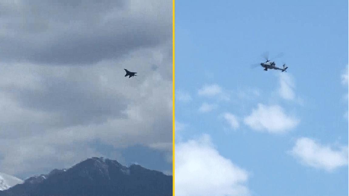 लद्दाख में इंडियन एयरफोर्स की हलचल, दिखे फाइटर जेट और हेलिकॉप्टर