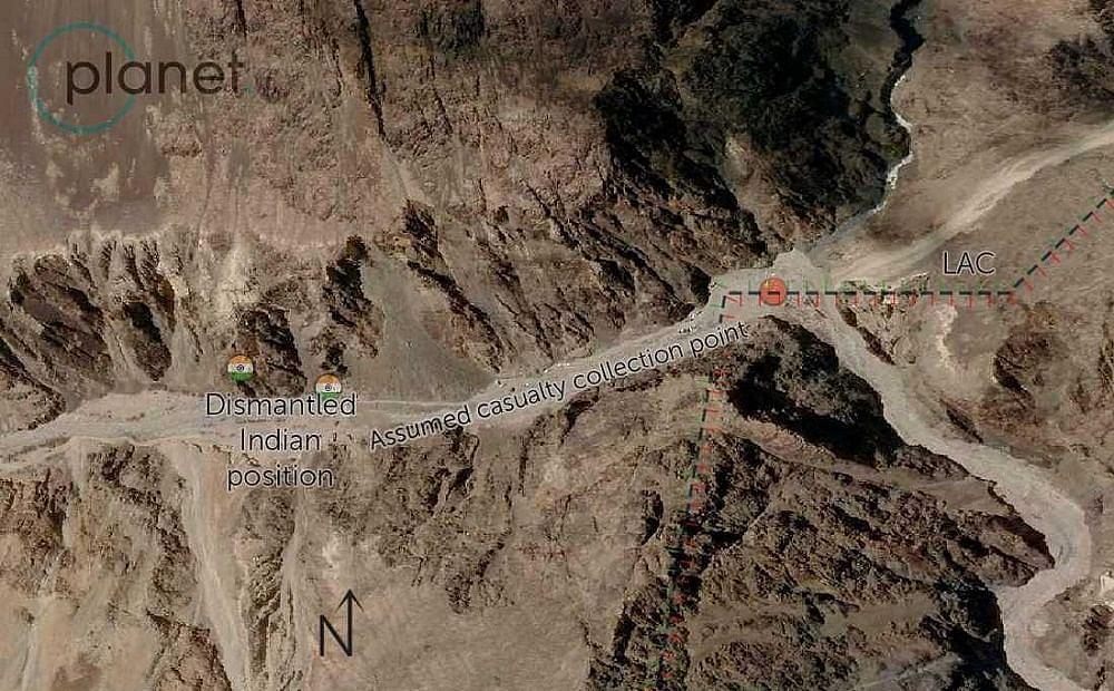 गलवान नदी घाटी, 16 जून 2020 को चीन की पोजीशन का कुछ हिस्सा हटा हुआ