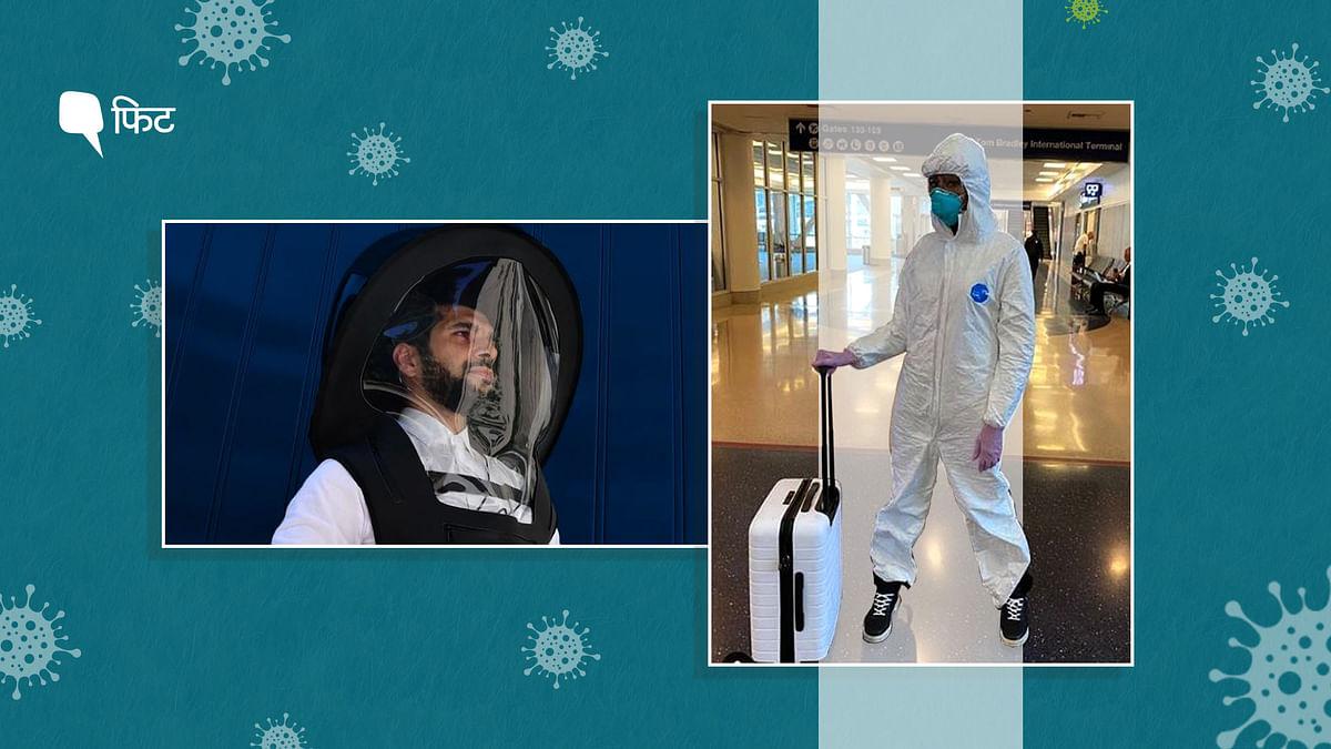 भारत में हवाई यात्रा के दौरान हजमत सूट पहनने का ट्रेंड दिख रहा है ताकि कोरोना वायरस से बचाव हो सके