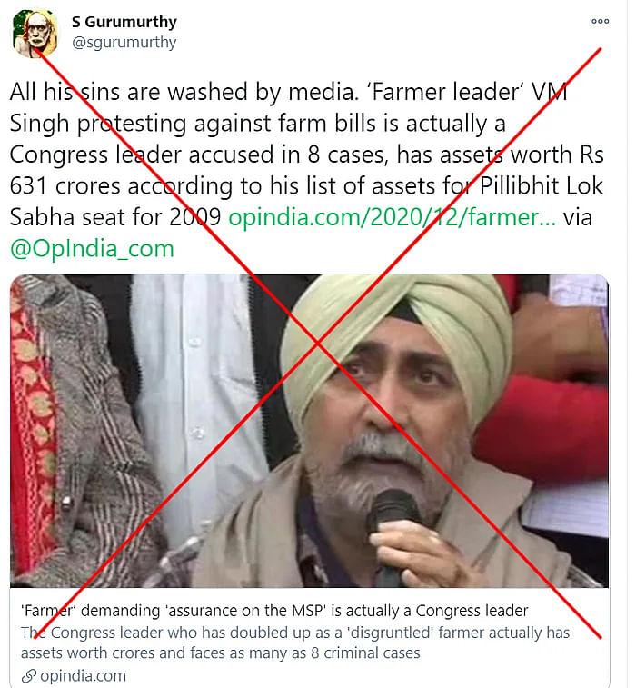 किसान नेता वीएम सिंह को कांग्रेस से जोड़ते हुए गलत दावा वायरल
