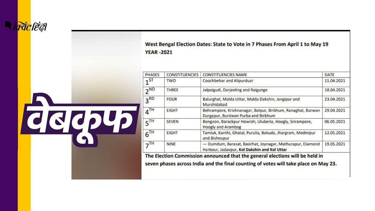 पश्चिम बंगाल में 11 अप्रैल से शुरू होंगे चुनाव? गलत है दावा