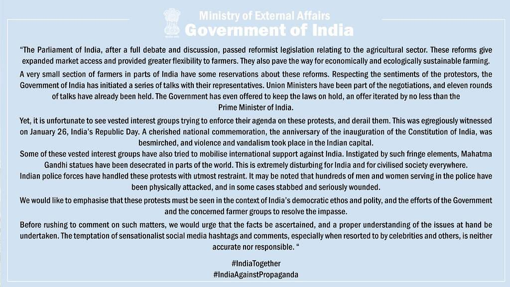किसानों  पर रिहाना का ट्वीट, विदेश मंत्रालय ने कहा-दुर्भाग्यपूर्ण
