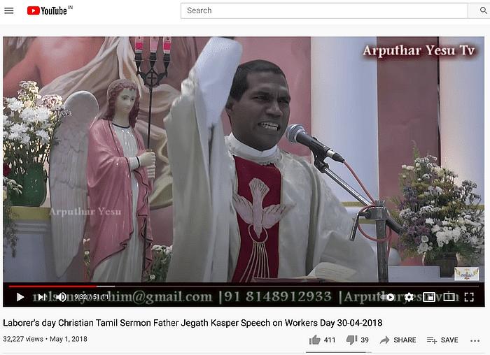 वीडियो में स्पीच दे रहे व्यक्ति तमिल मय्यम ऑर्गनाइजेशन से जुड़े फादर जेगथ गैस्पर हैं.