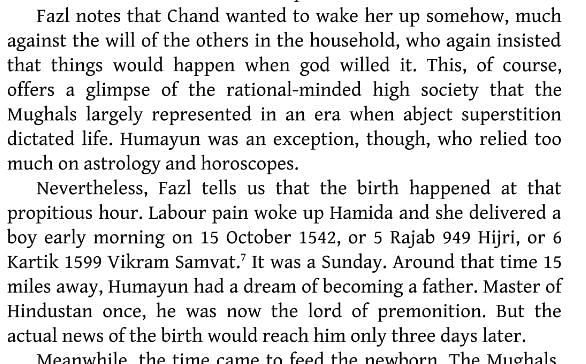 अकबर का जन्म 15 अक्टूबर 1542 में हुआ था