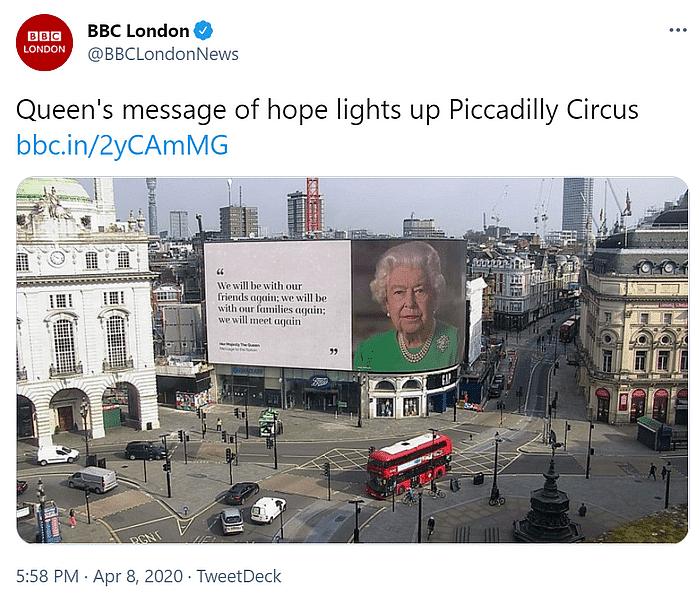 इस फोटो को BBC लंदन ने 8 अप्रैल 2020 को शेयर किया था