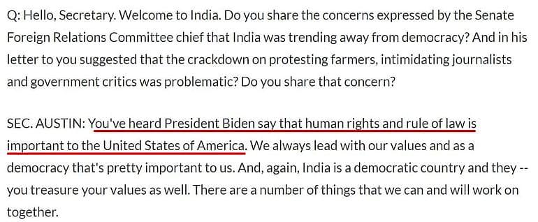 अमेरिकी रक्षामंत्री ने भारत में मानवाधिकारों पर बात की?ये झूठ नहीं