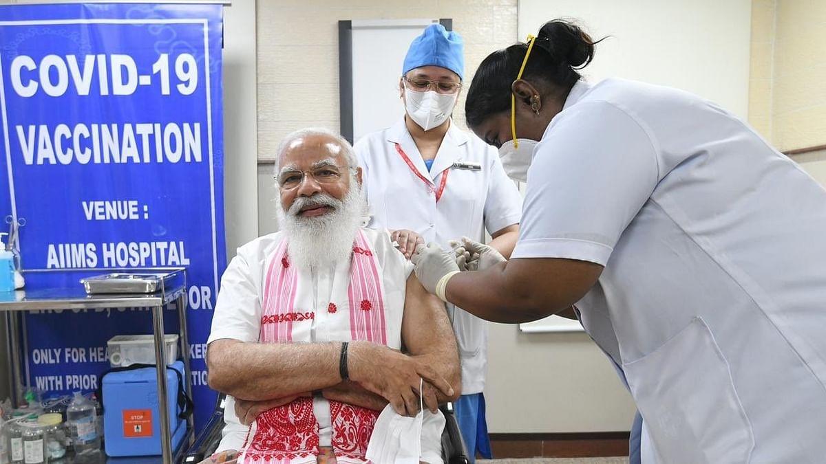 PM मोदी ने AIIMS में ली कोरोना वायरस वैक्सीन की पहली खुराक