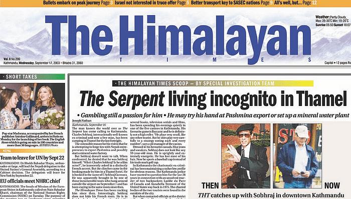 द हिमालयन टाइम्स ने 17 सितंबर, 2003 को काठमांडू में चार्ल्स शोभराज के मौजूद होने का खुलासा किया