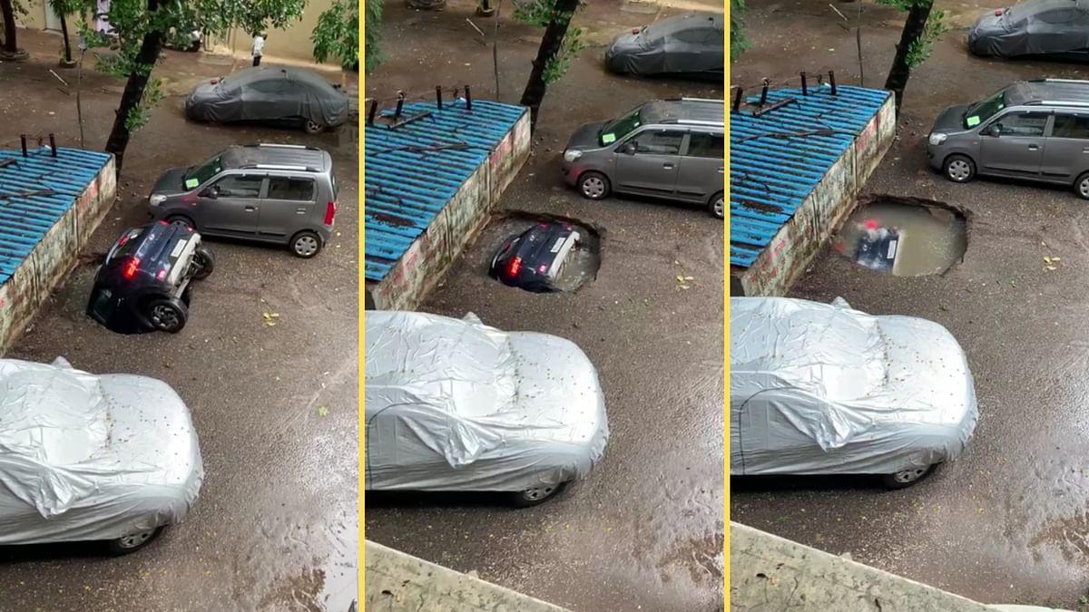 मुंबई के घाटकोपर में जमीन में घुसी कार
