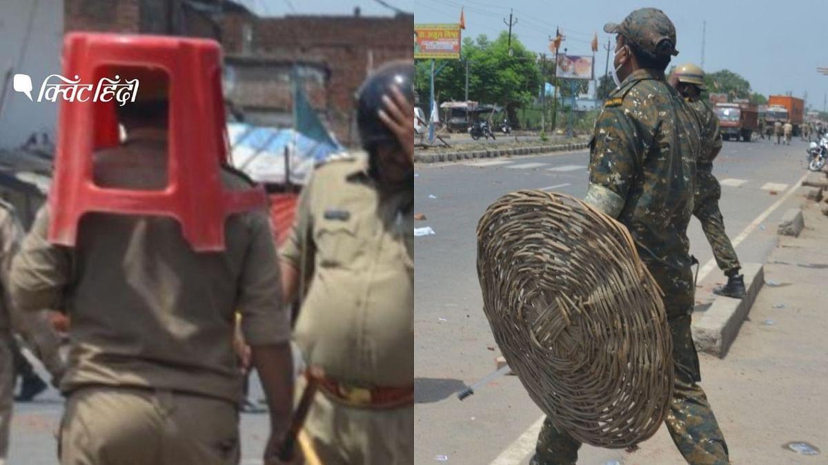 स्टूल-डलिया को ढाल बनाती दिखी पुलिस, अखिलेश की चुटकी, DGP का एक्शन