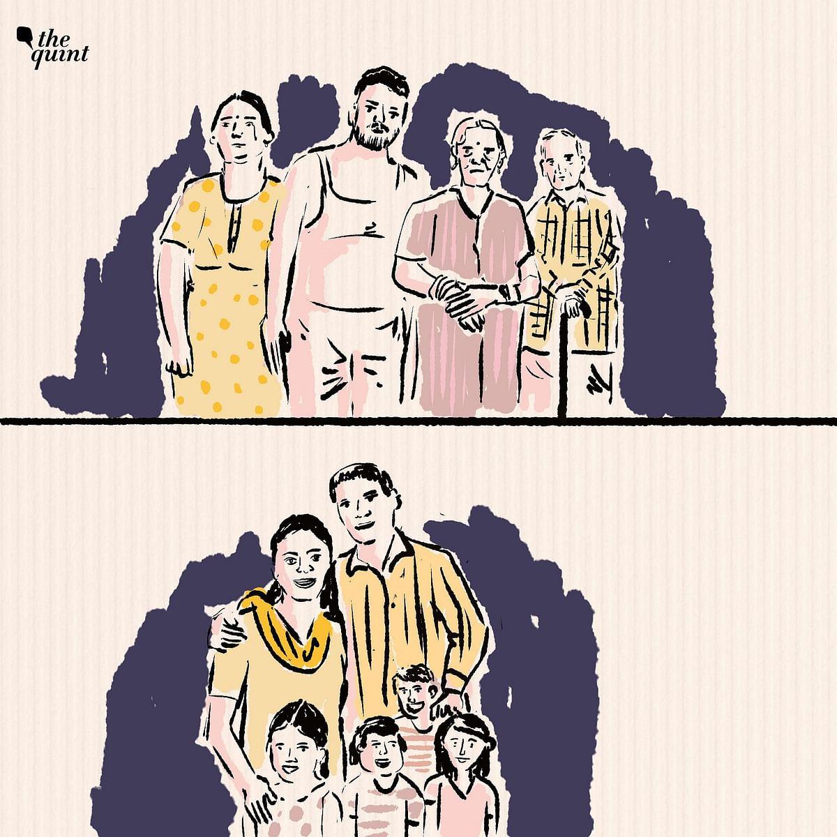 """<div class=""""paragraphs""""><p>ऊपर मयंक और उनका परिवार है, उनके 70 वर्षीय पिता जो पोलियो से पीड़ित हैं, उनकी 62 वर्षीय मां जिन्हें घुटने की समस्या है और उनकी 39 वर्षीय पत्नी रजनी हैं. नीचे 41 वर्षीय संतोष और उनकी पत्नी सुनीता और उनके बच्चे हैं. तीन लड़कियां और एक लड़का</p></div>"""