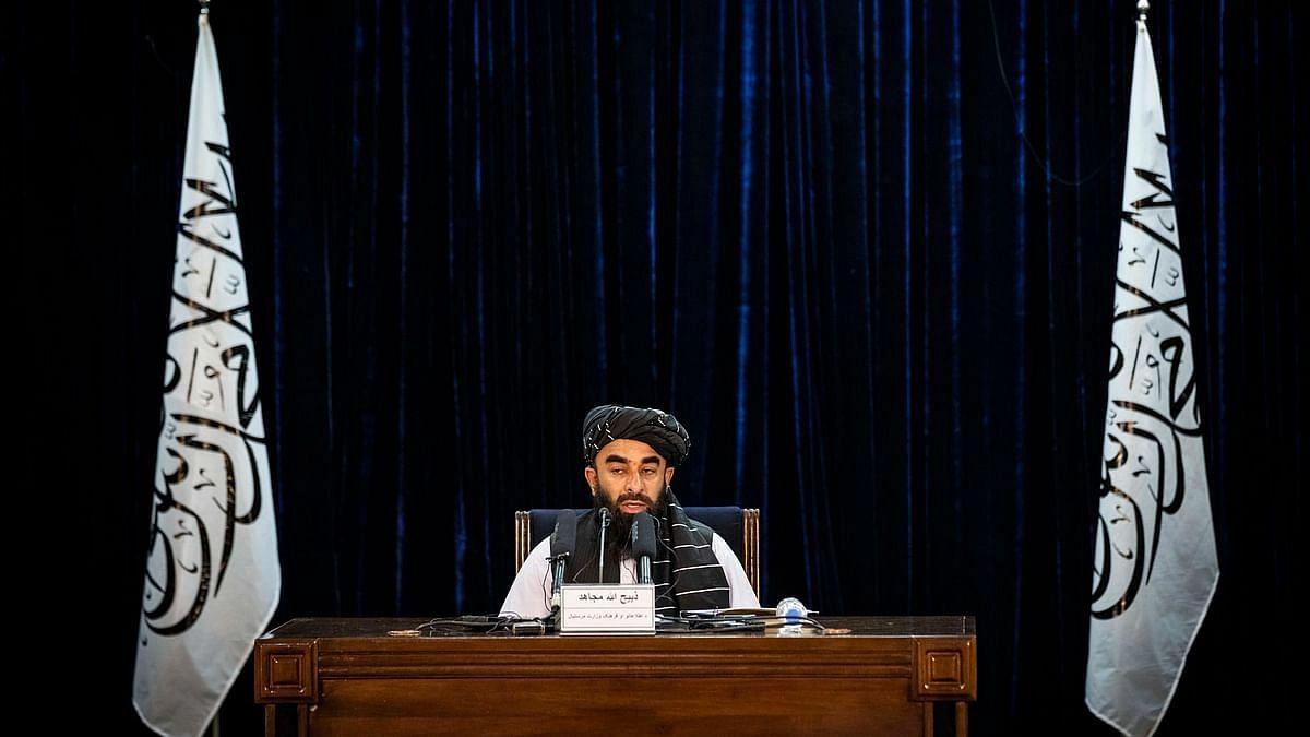 """<div class=""""paragraphs""""><p>तालिबान सरकार के प्रवक्ता जबीहुल्लाह मुजाहिद 21 सितंबर को प्रेस कॉन्फ्रेंस करते हुए.</p></div>"""