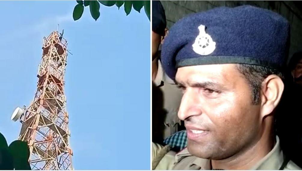 "<div class=""paragraphs""><p>बाईं तरफ - टावर पर चढ़ा शख्स, दाईं तरफ - शाहजहांनाबाद TI जहीर खान</p></div>"