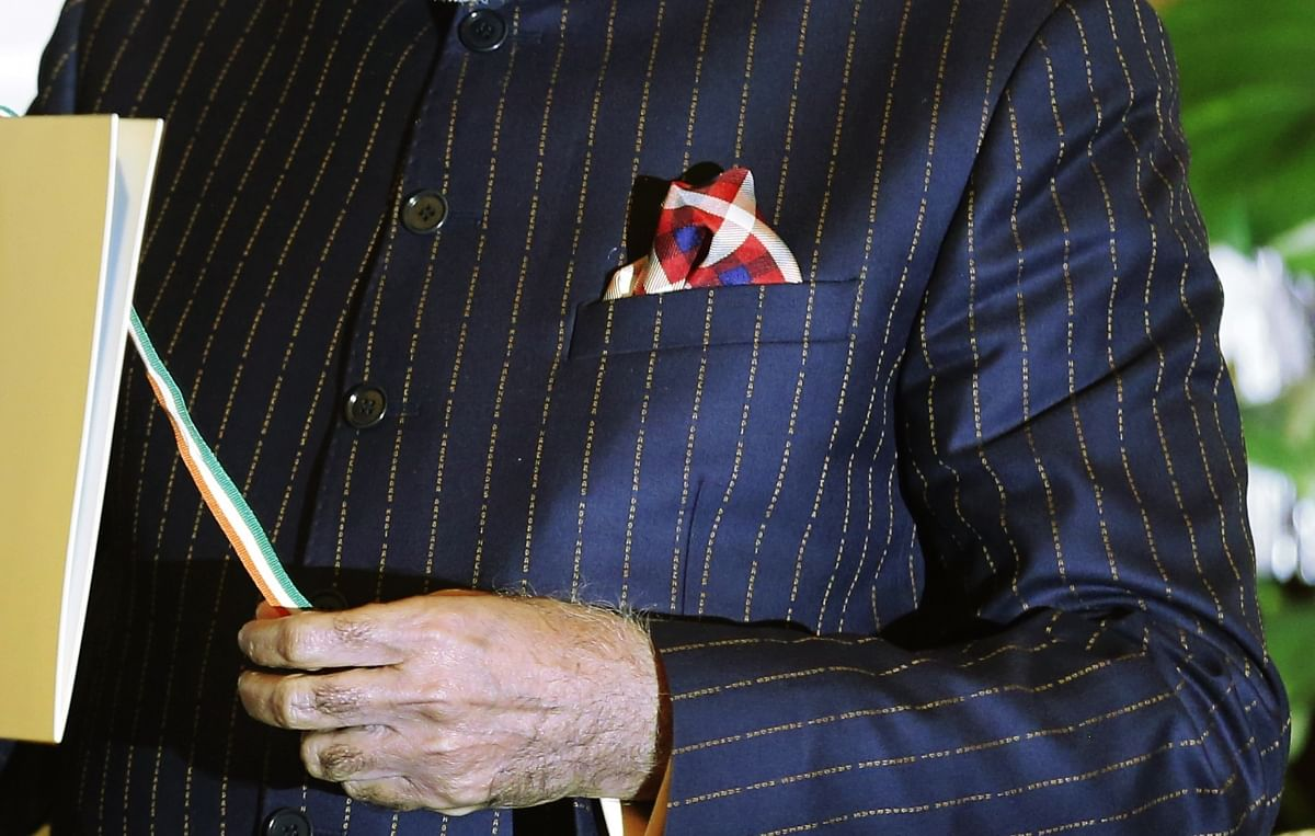 A close-up view of Indian Prime Minister Narendra Modi's dark pinstripe suit. (Photo: Reuters)