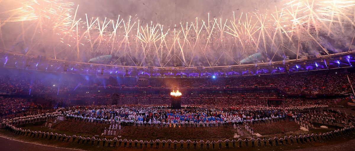 The Olympic cauldron is seen alight as fireworks explode during the opening ceremony of the London 2012 Olympic Games at the Olympic Stadium July 27, 2012.&nbsp;(Photo: Reuters)<!--EndFragment-->