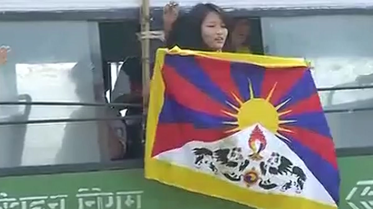 Tibetan student outside Chinese Embassy in India (Photo: ANI)