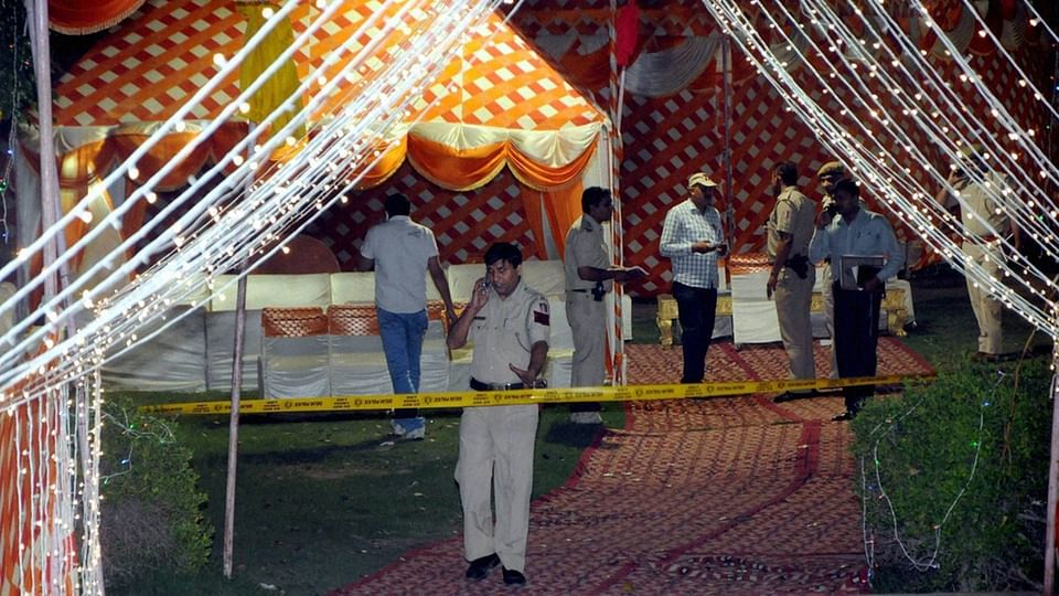 <!--StartFragment-->Police officials investigate the crime scene&nbsp;after former INLD MLA Bharat Singh shot at in a suspected case of gang war in south west Delhi's Najafgarh. (Photo: PTI)<!--EndFragment-->