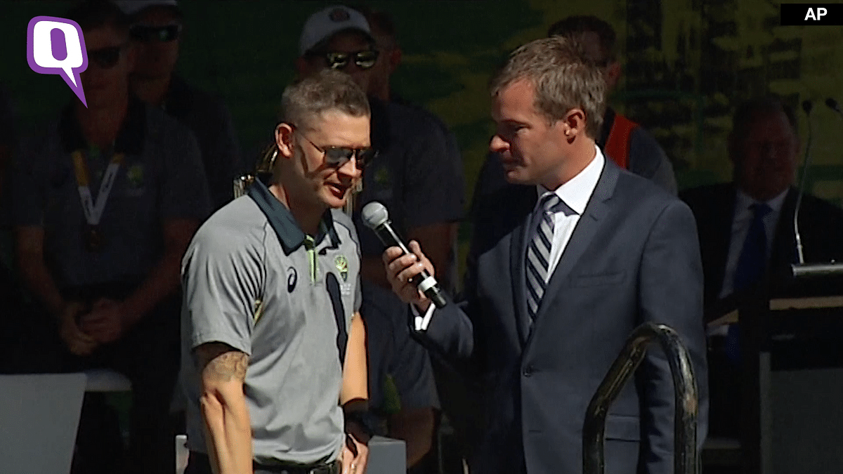 Michael Clarke speaks to his fans at the special victory ceremony in Melbourne.