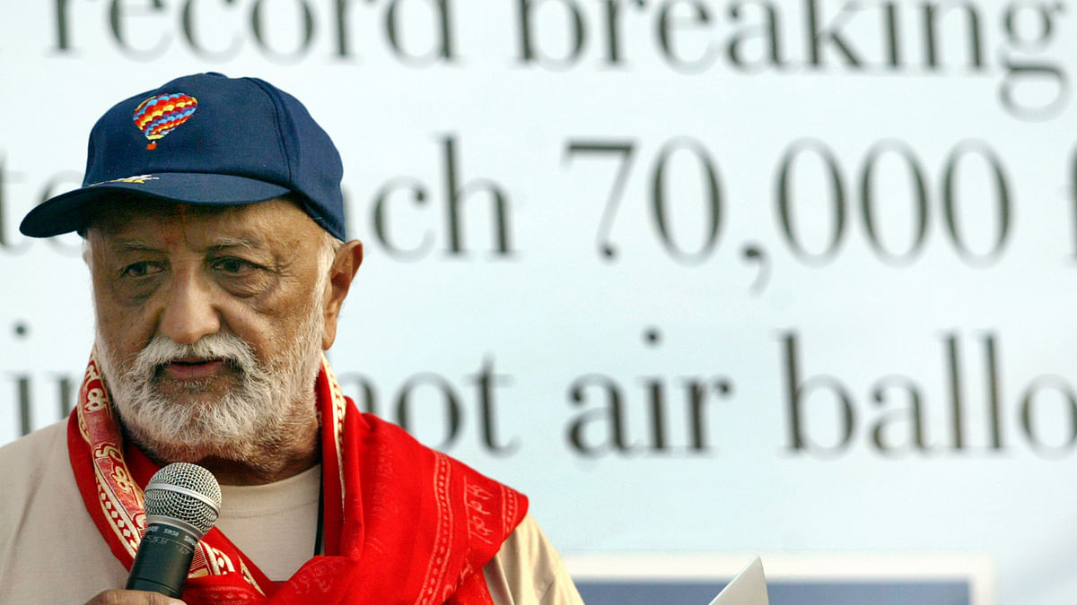 Vijaypat Singhania speaks at a press conference after creating a new hot-air balloon altitude record. (Photo: Reuters)