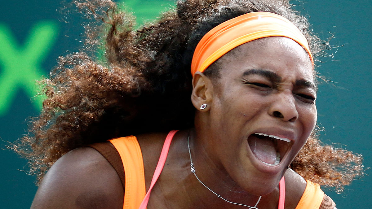 Serena Williams reacts after winning her third round match at the Miami Open. (Photo: AP)