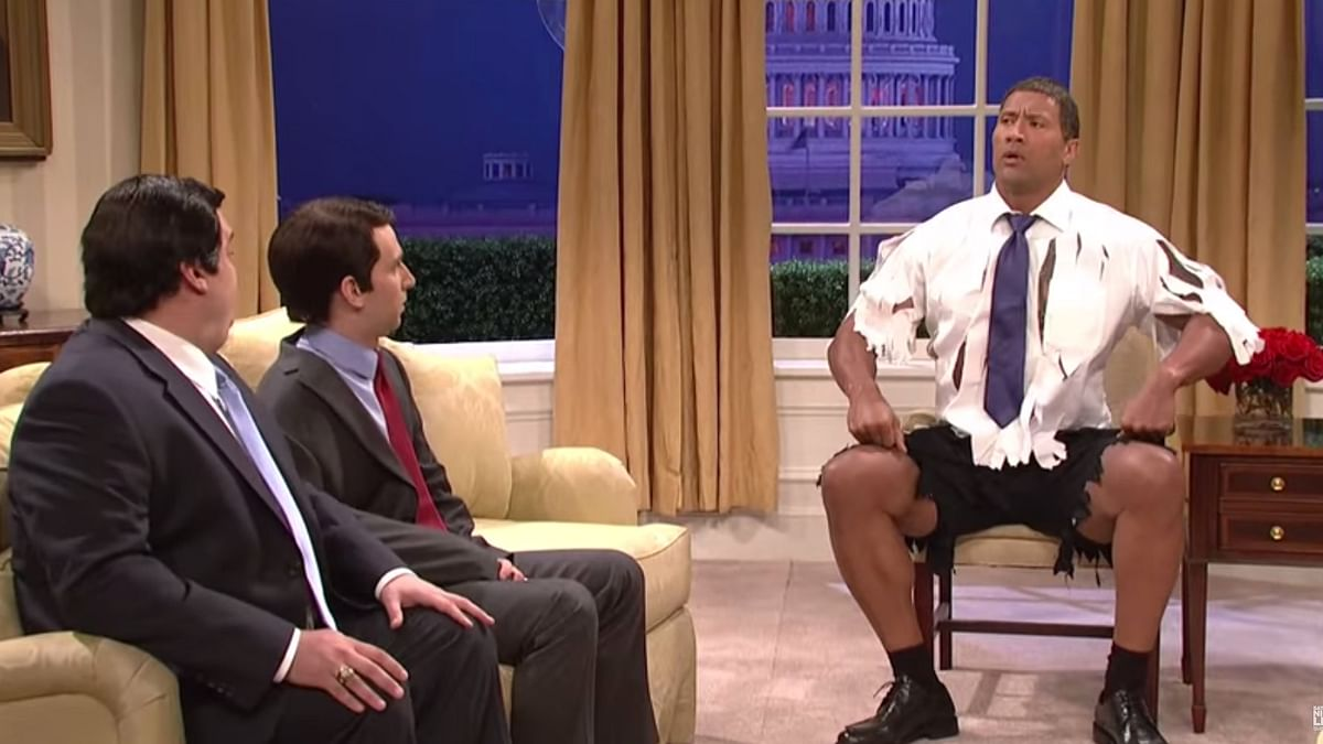 The 'Rock Obama' hosting the Sunday Night Live (YouTube Grab: SNL)
