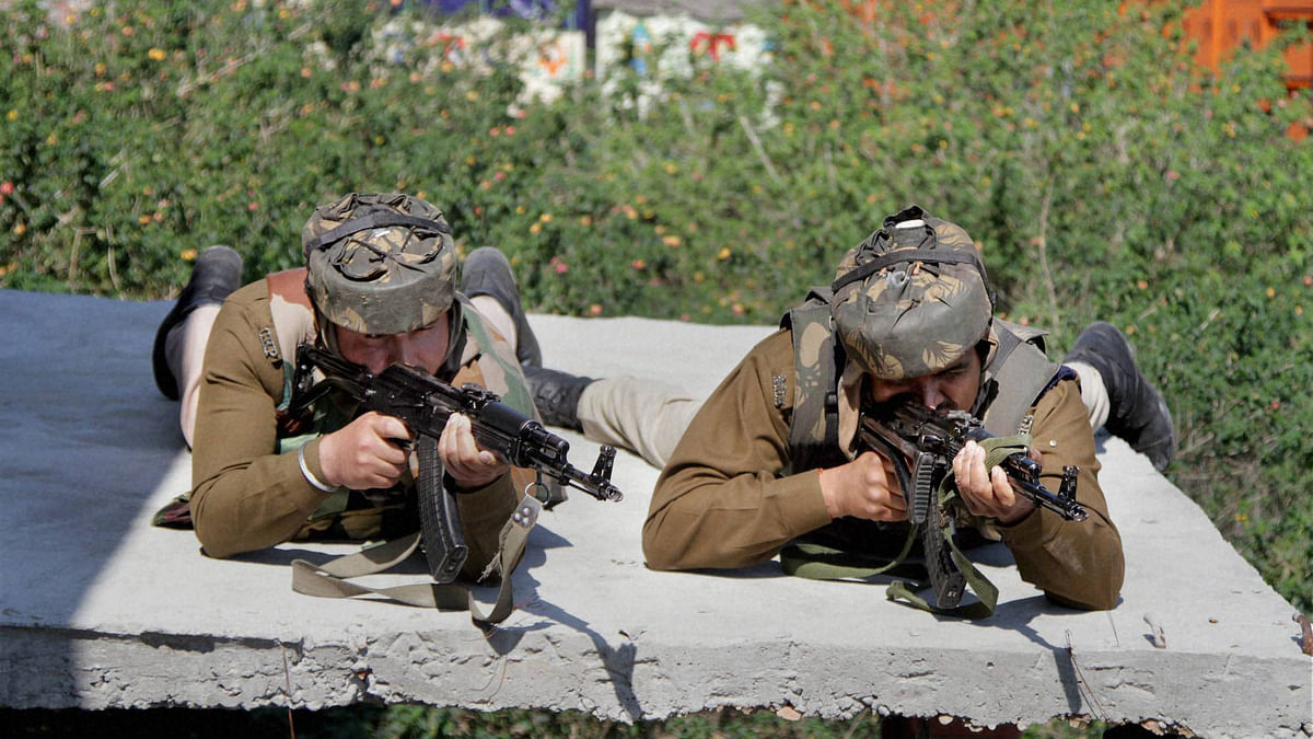 Forces taking positions during the attack at the army camp in Samba, Jammu and Kashmir. (Photo: PTI)