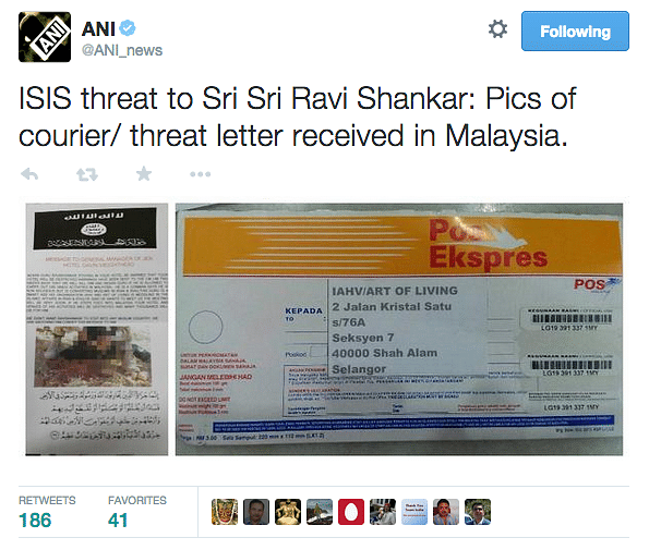 ISIS Threatens to Kill Sri Sri Ravi Shankar