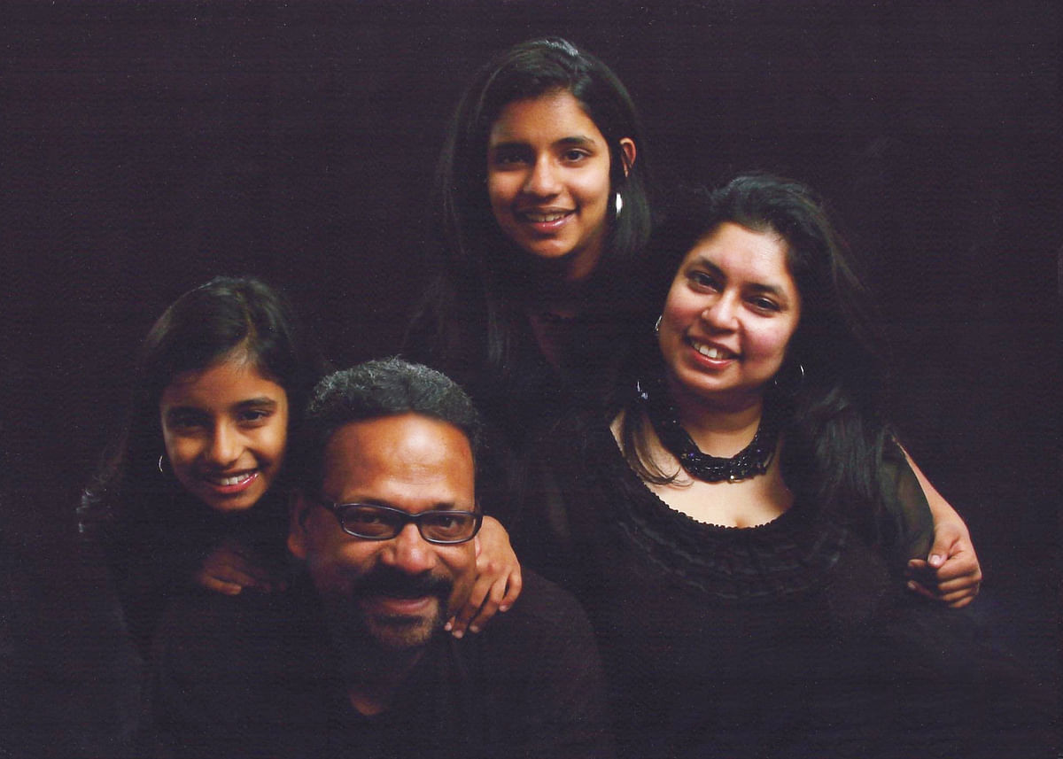 Ananya Cleetus with her father Francis, mother Maneesha and sister Antara.