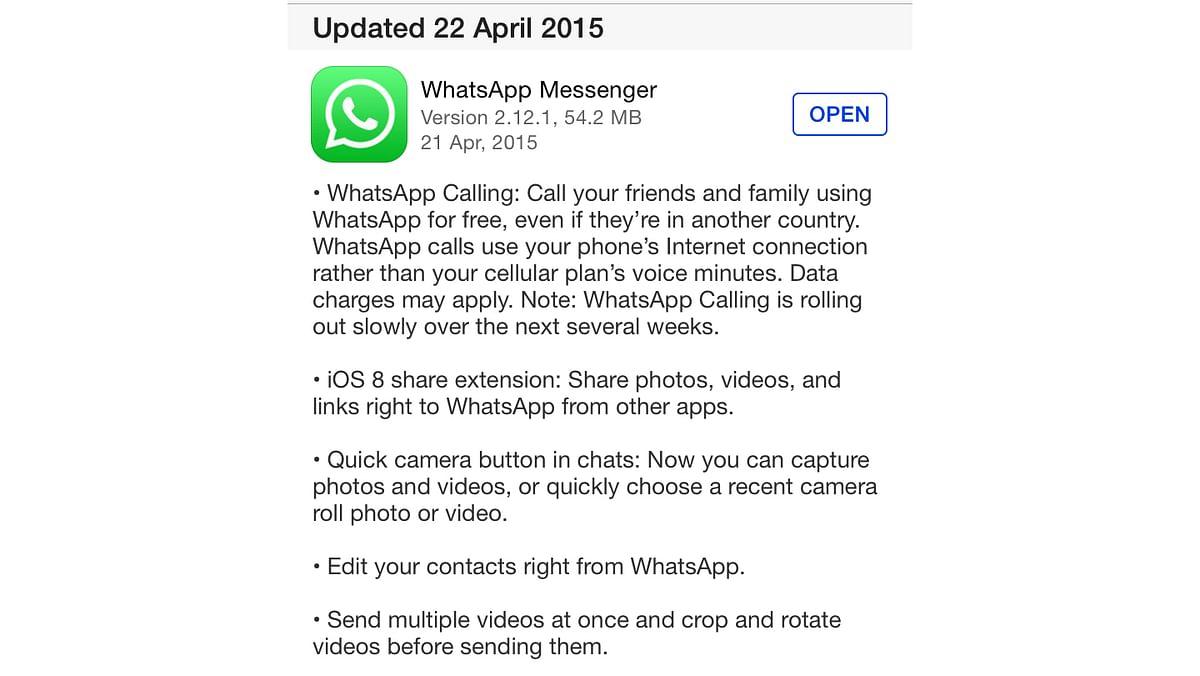 WhatsApp Update details