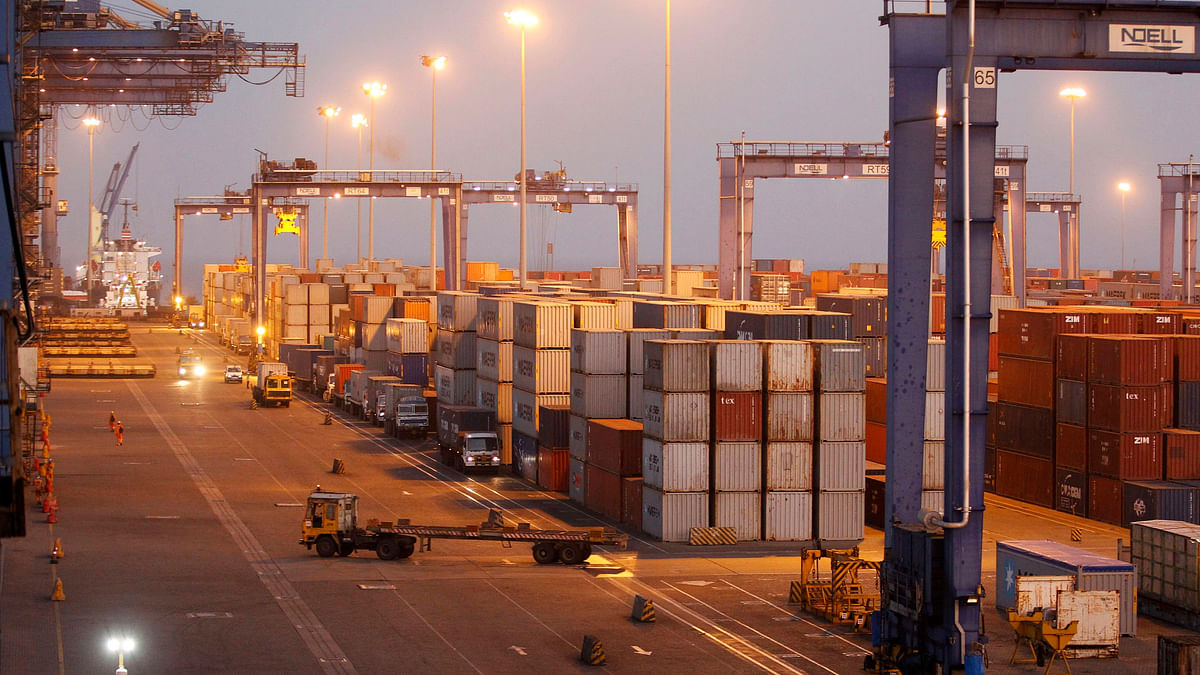 A general view of a container terminal is seen at Mundra Port in the western Indian state of Gujarat.