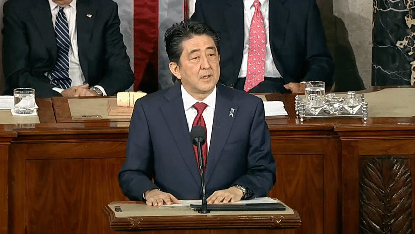Japanese PM Shinzo Abe addressing the US Congress. (Photo: AP Screengrab)