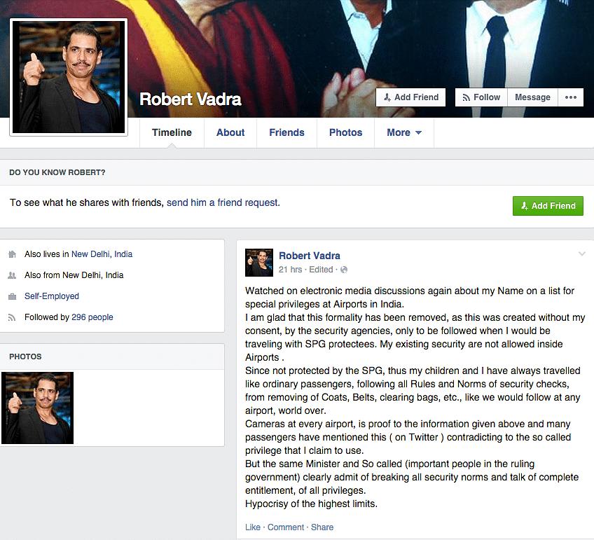Vadra's Facebook Post