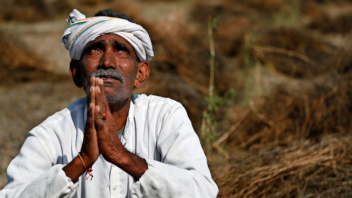 An Indian farmer looks skyward as he sits in his field with wheat crop that was damaged in unseasonal rains and hailstorm at Darbeeji village, in Rajasthan. (Photo: AP)
