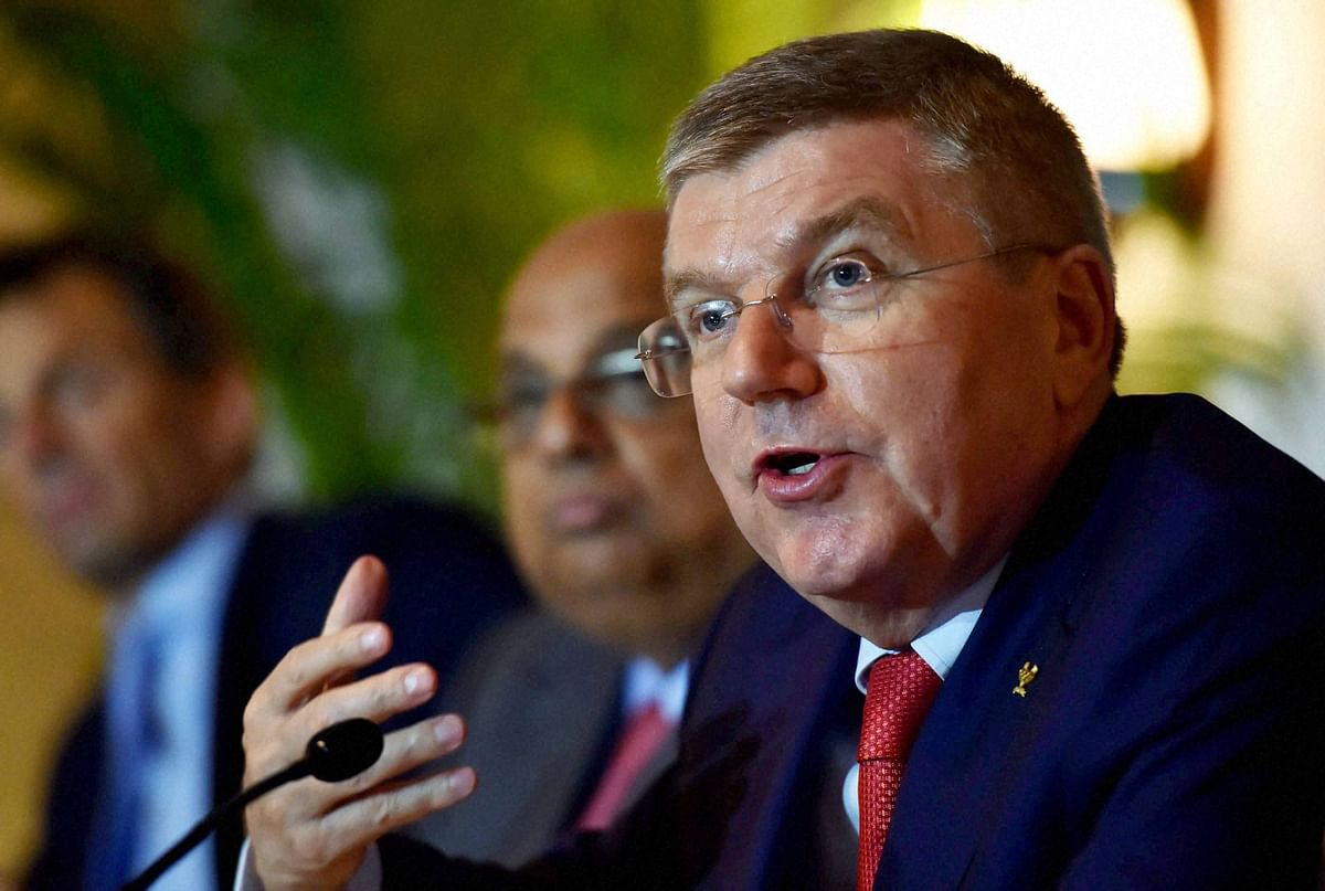 IOC President Thomas Bach addressing a press conference in New Delhi on Monday. (Photo: PTI)