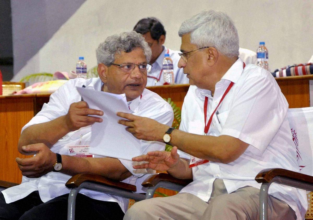 CPI(M) General Secretary Sitaram Yechury (left)and Prakash Karat (right) at the partys 21st National Congress in Visakhapatnam. (Photo: PTI)