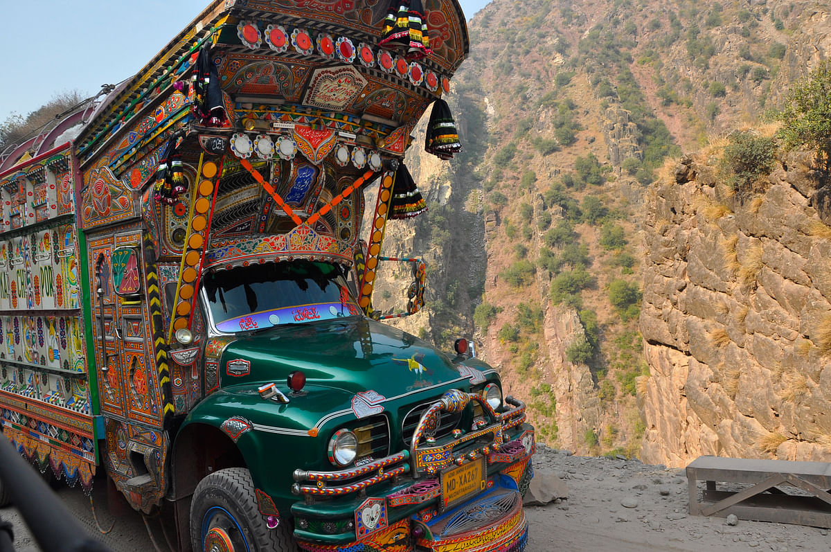 These colourful trucks are mostly hand painted. (Photo: Aabid Shafi/The Quint)