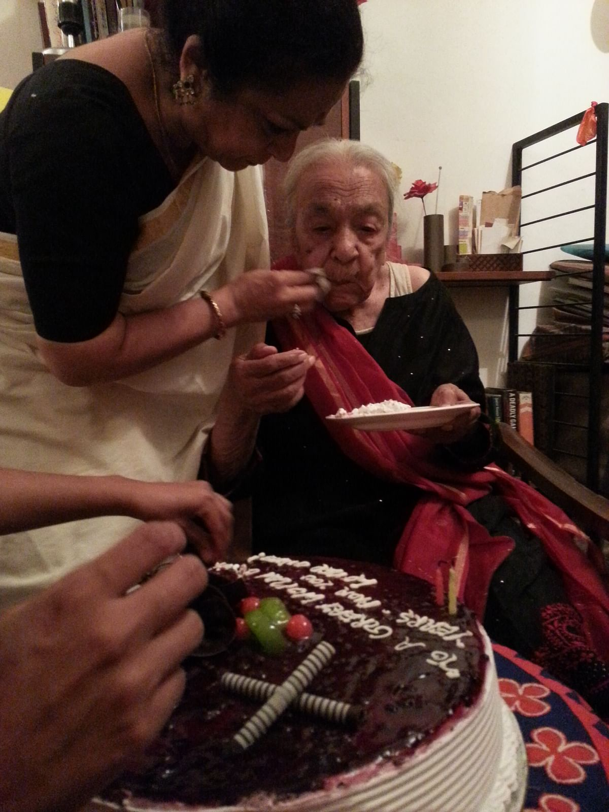 Zohra Sehgal photographed on the morning of her 102nd birthday.