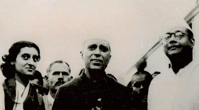 Netaji Subhash Chandra Bose with Jawaharlal Nehru and Indira Gandhi. (Courtesy: Netaji.org)