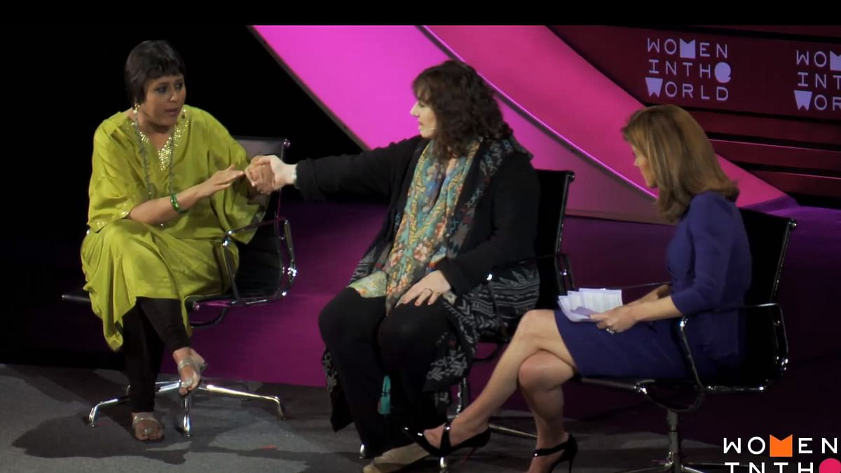 """Screen grab from the panel at the 'Women in the World' summit in New York City. (Photo Courtesy: YouTube/<a href=""""https://www.youtube.com/channel/UCwXekc-fe9L4g4ImdvAlgdA"""">Women In The World</a>)"""