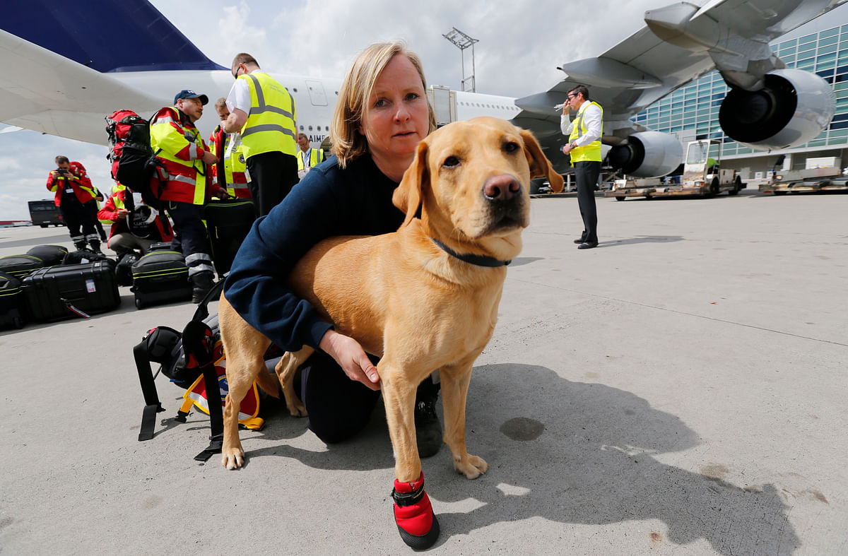 Sniffer dog handler Birgit Ostendorf prepares her dog 'Cooper' for board their flight to Nepal from Frankfurt Airport. Seven rescue dogs and 51 doctors, medics and logistical experts flew to Nepal on Sunday. (Photo: Reuters)