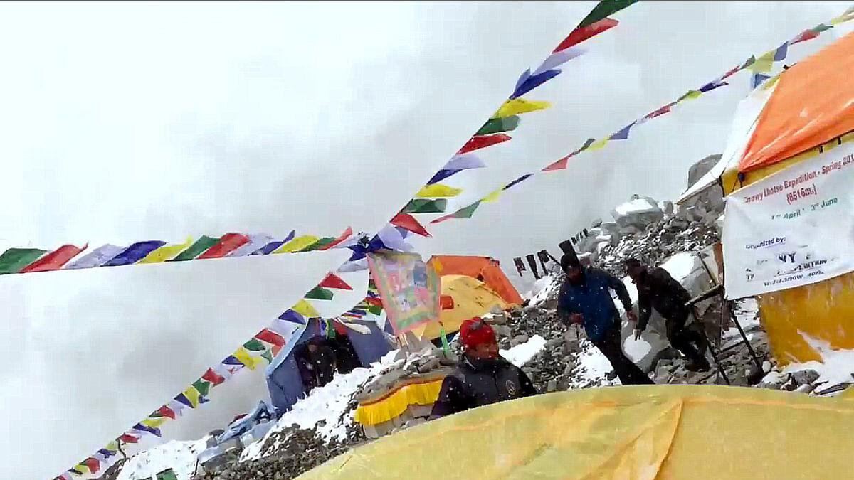"""German climber <a href=""""https://twitter.com/JostKobusch"""">Jost Kobusch</a> captured a video of the moment a quake triggered avalanche hit the Everest base camp."""