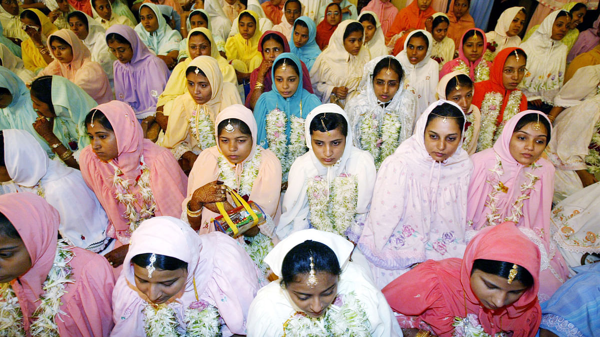 Women of  the Dawoodi Bohra Muslim sect during a mass marriage function in Mumbai.