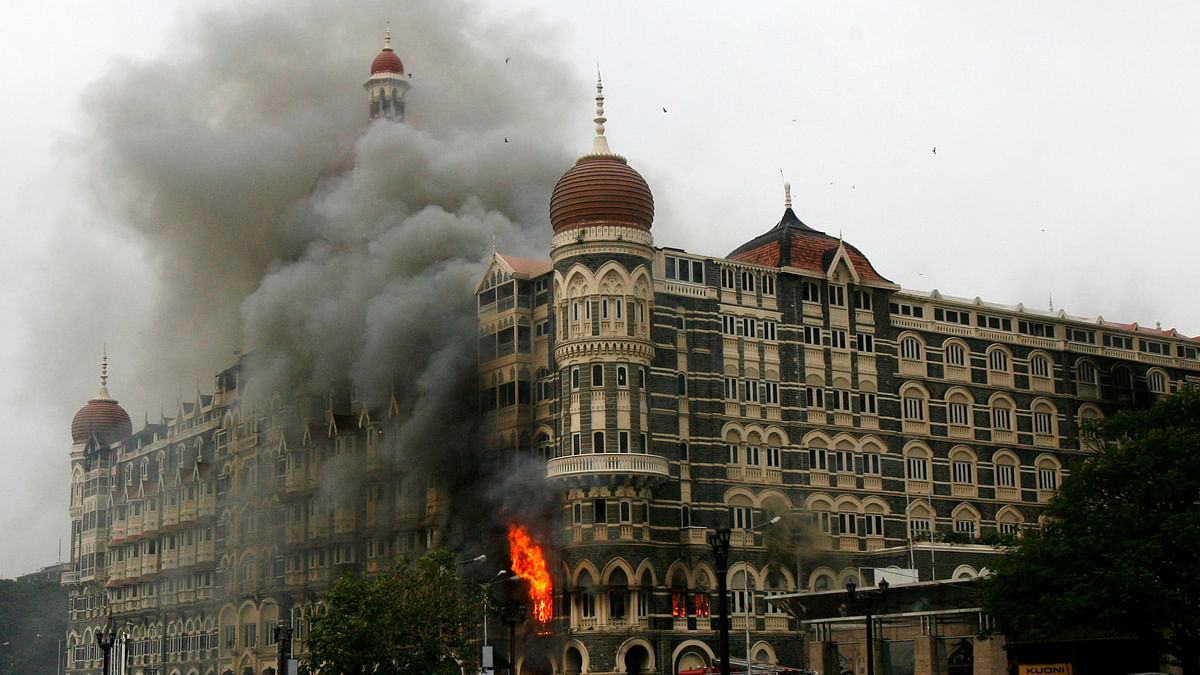 The Taj Mahal hotel is seen engulfed in smoke during the terror attacks in Mumbai, November 2008. (Photo: Reuters)