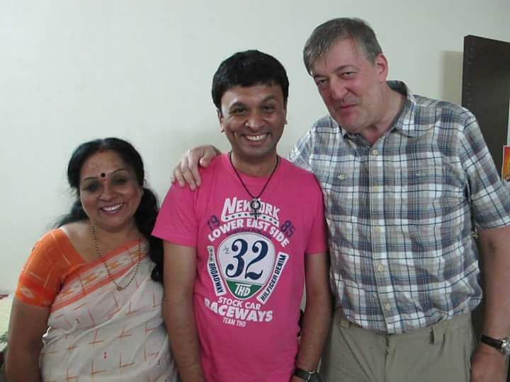 Harish Iyer with his mother Padma Iyer and British actor, writer and activist Stephen Fry, who was in India to film a documentary on the gay community