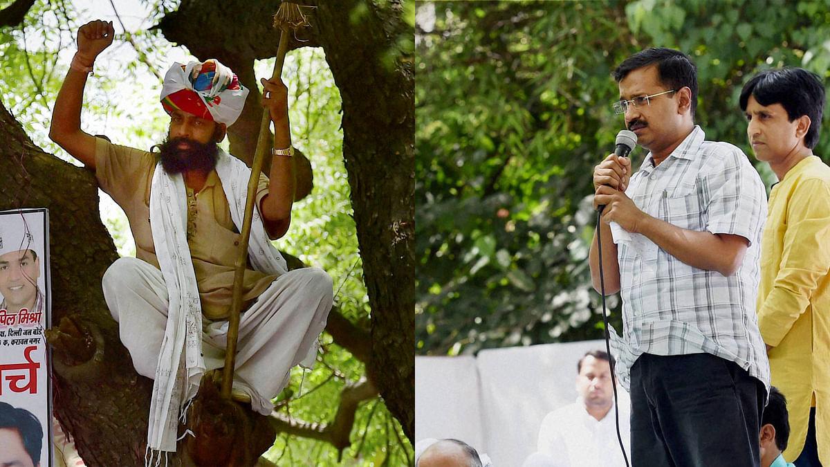 Farmer Gajendra Singh (left) and Delhi CM Arvind Kejriwal (right) in New Delhi. (Photo: PTI)