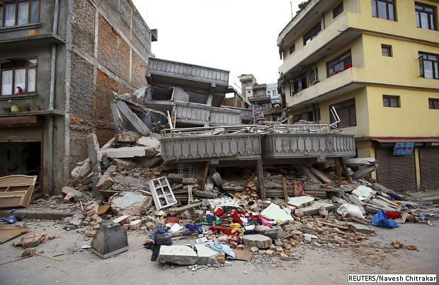 <em>A collapsed building in Kathmandu, Nepal after an earthquake hit the region on April 25, 2015.</em>