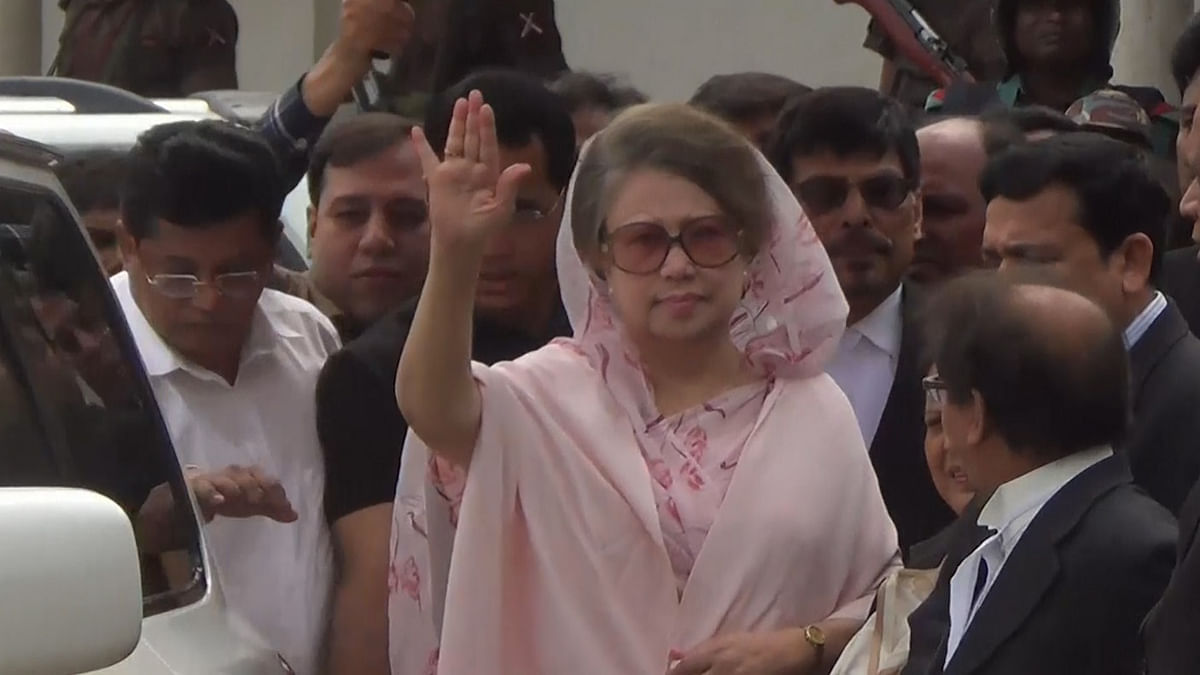 File photo of Khaleda Zia outside the court premises in Dhaka. (Photo: AP Screengrab)