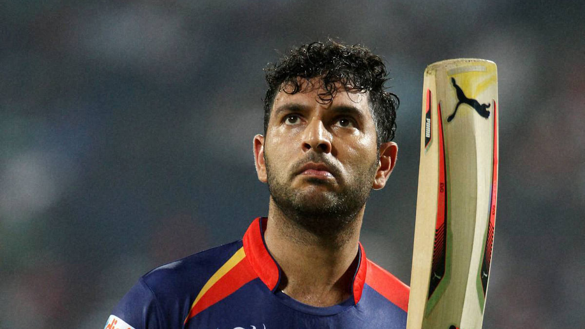 Yuvraj Singh acknowledges the crowd during an IPL match. (Photo: BCCI/PTI)